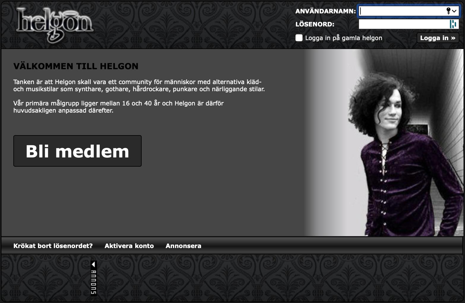 Frontpage Helgon.se